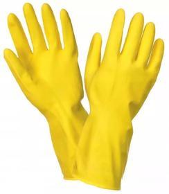 rękawice gumowe flokowane żółte